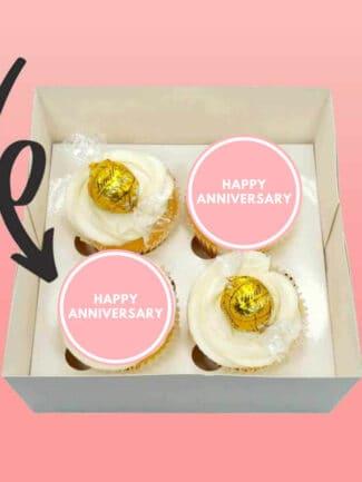 happy anniversary cupcake pink